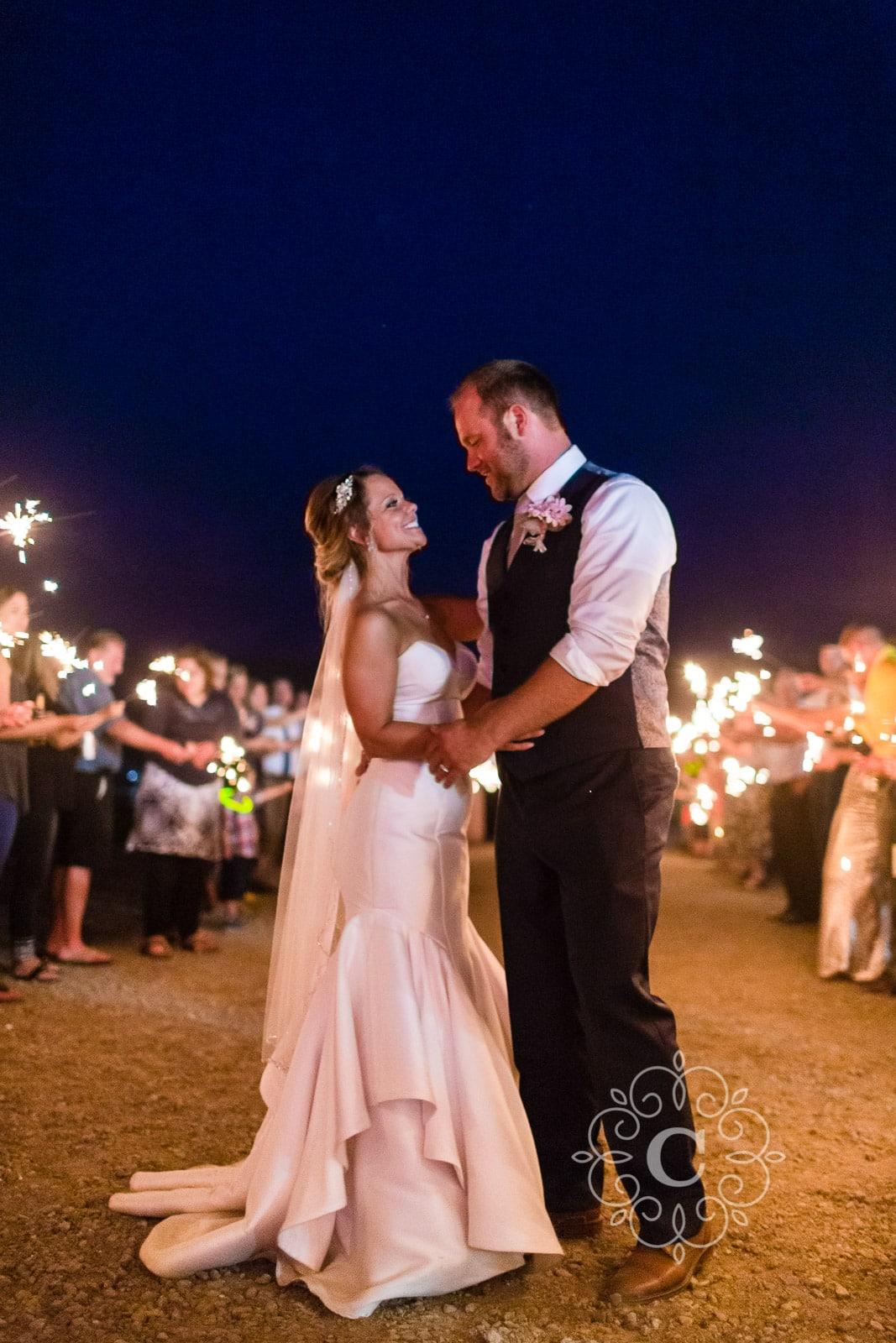 Minnesota Barn Sparkler Wedding Photos