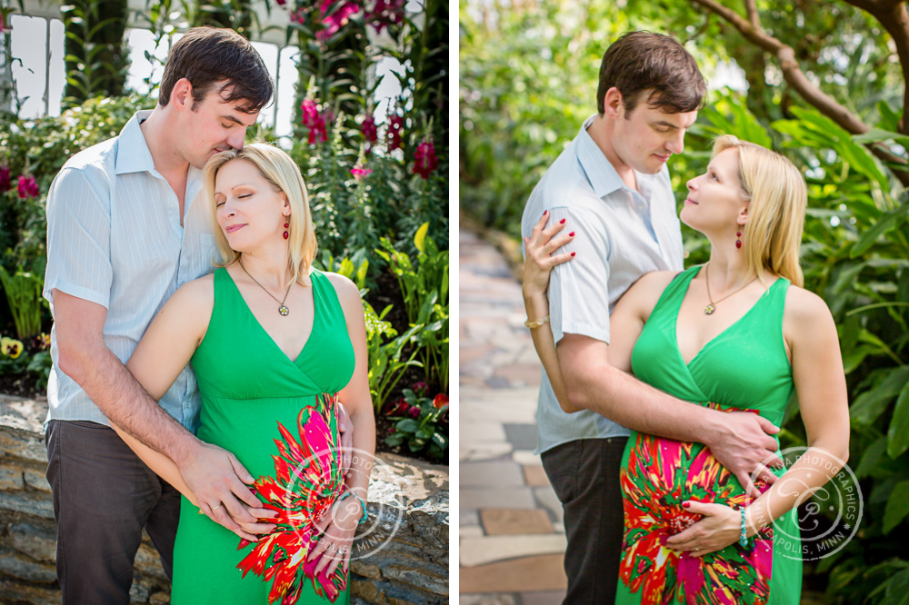 Minneapolis Maternity Photographer Como Park Conservatory Couple Embracing