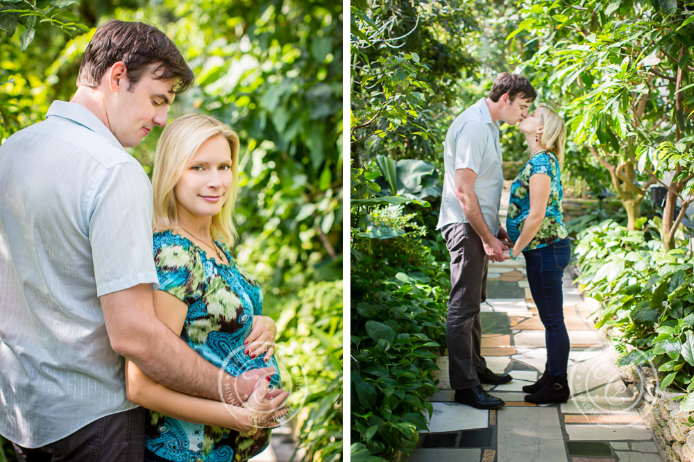 Minneapolis Maternity Photographer Como Park Conservatory Couple Embracing Kissing