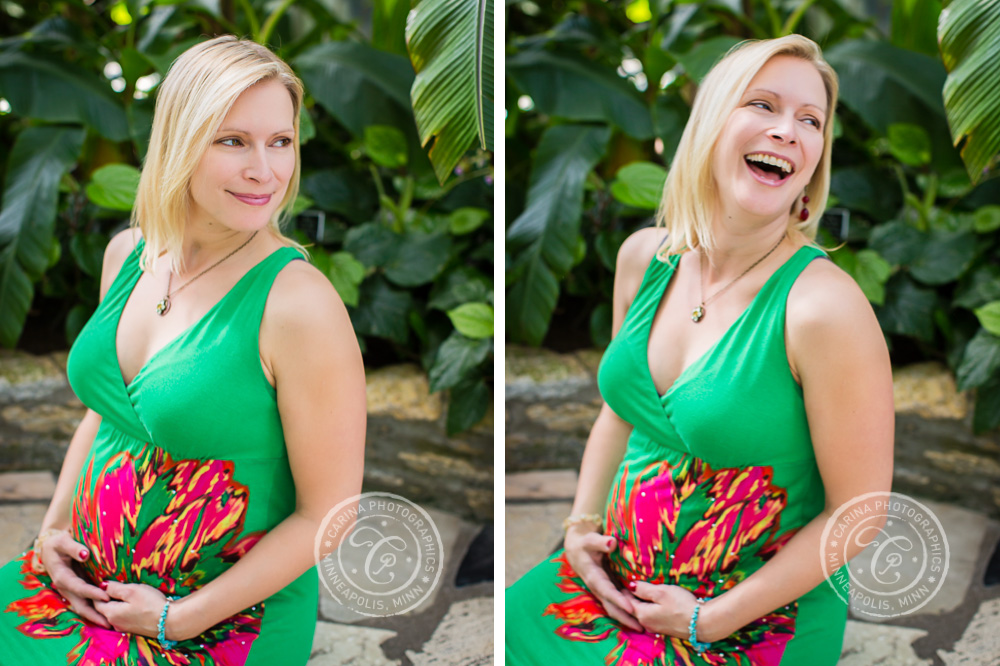Minneapolis Maternity Photographer Como Park Conservatory Mom Laughing
