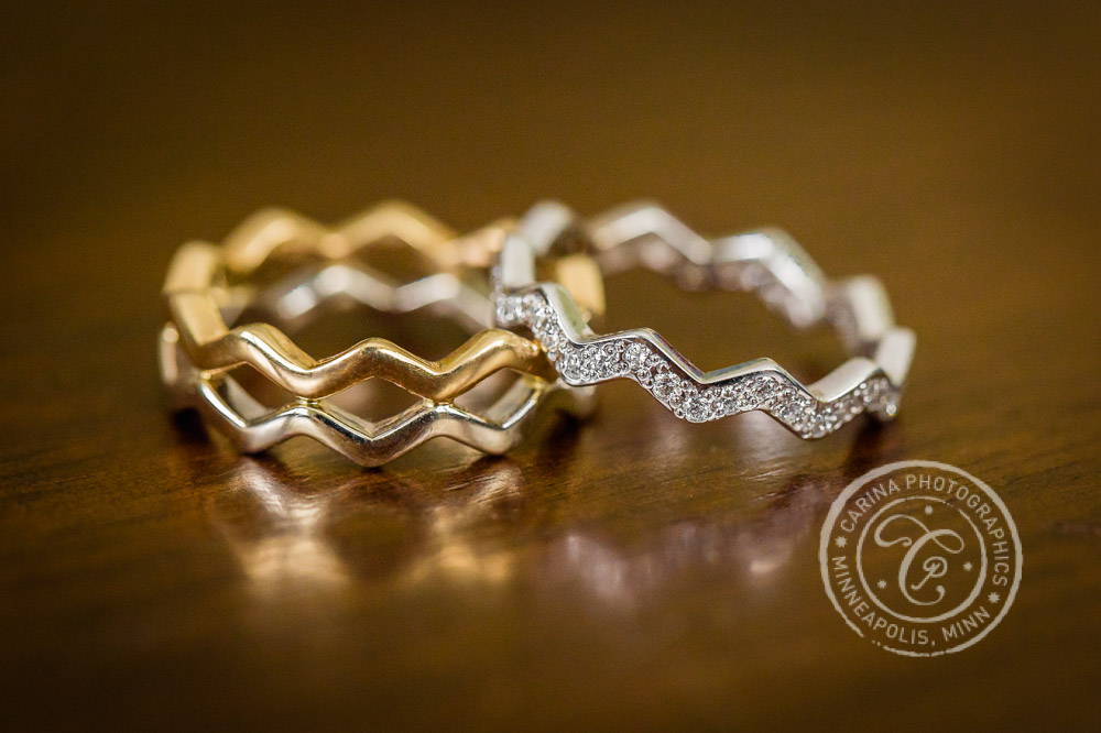 Gold, silver and diamond wedding rings created by Commers Custom Jewelers
