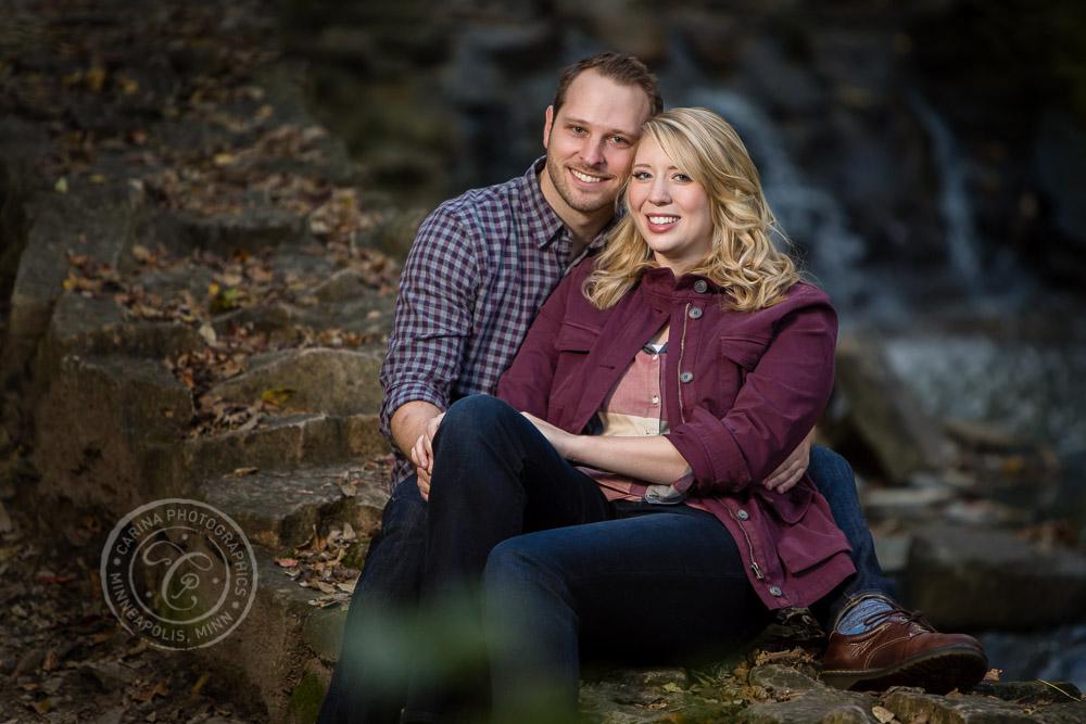 Hidden Falls Waterfall St Paul MN Engaged Couple