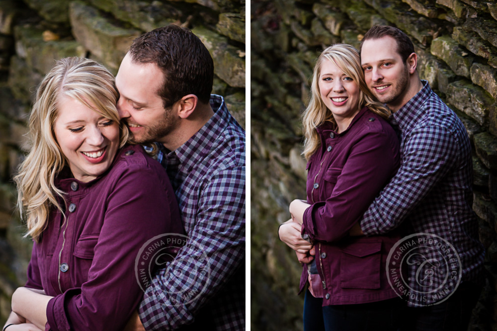 Hidden Falls Stone Wall St Paul MN Engaged Couple