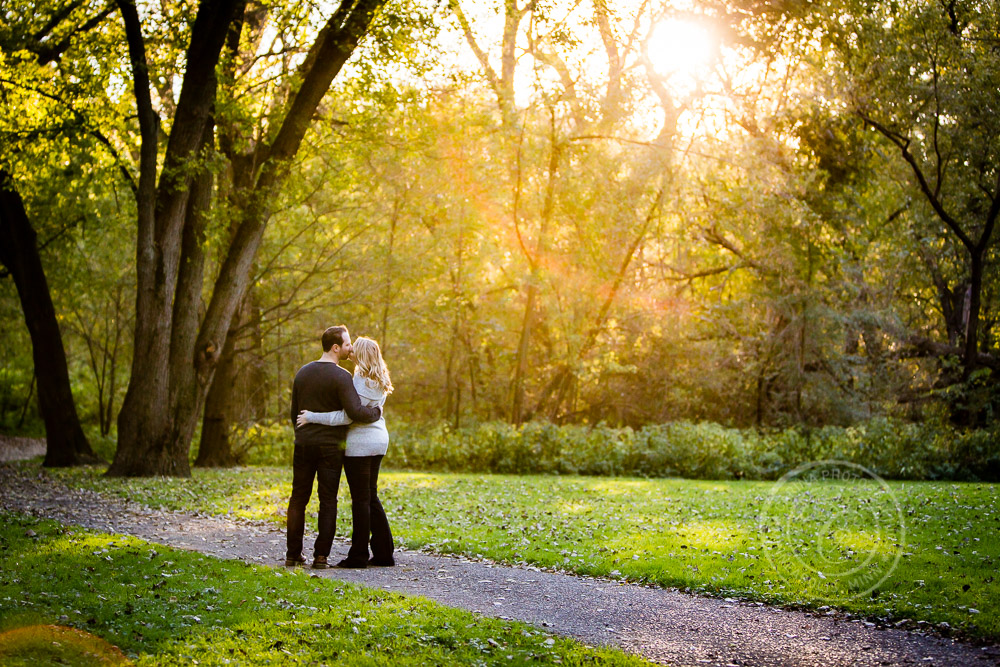 Hidden Falls St Paul MN Sunset Engaged Couple