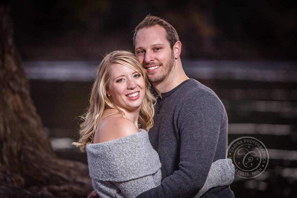 Hidden Falls St Paul MN River Engaged Couple