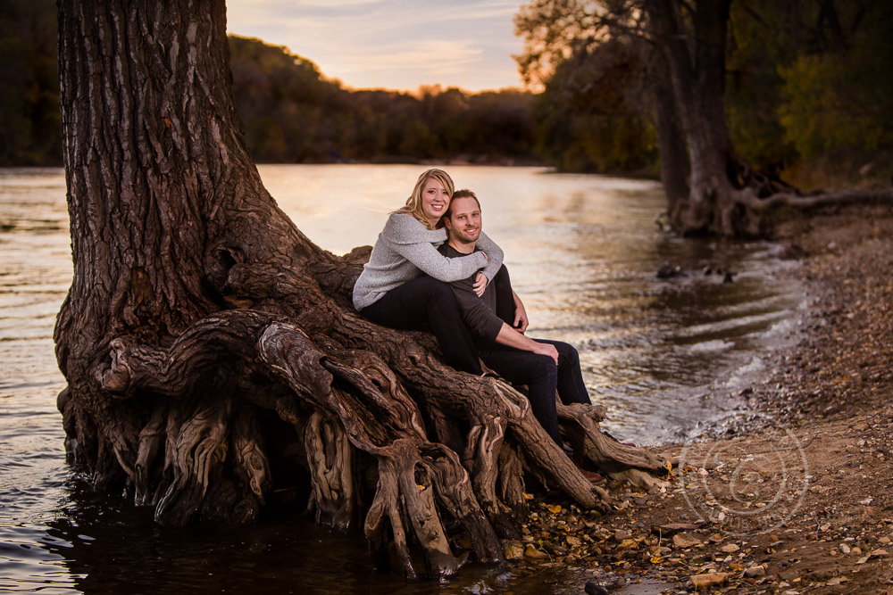 Hidden Falls St Paul MN Sunset River Tree Engaged Couple