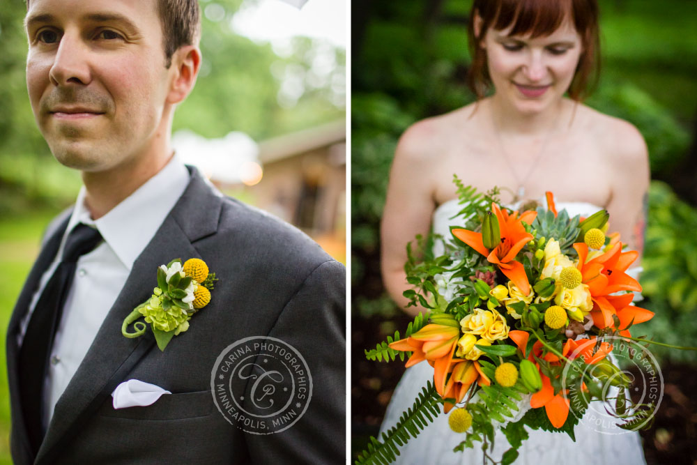 Groom Boutonniere Bride Bouquet Flowers