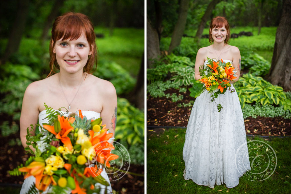 Beautiful bride with bouquet flowers
