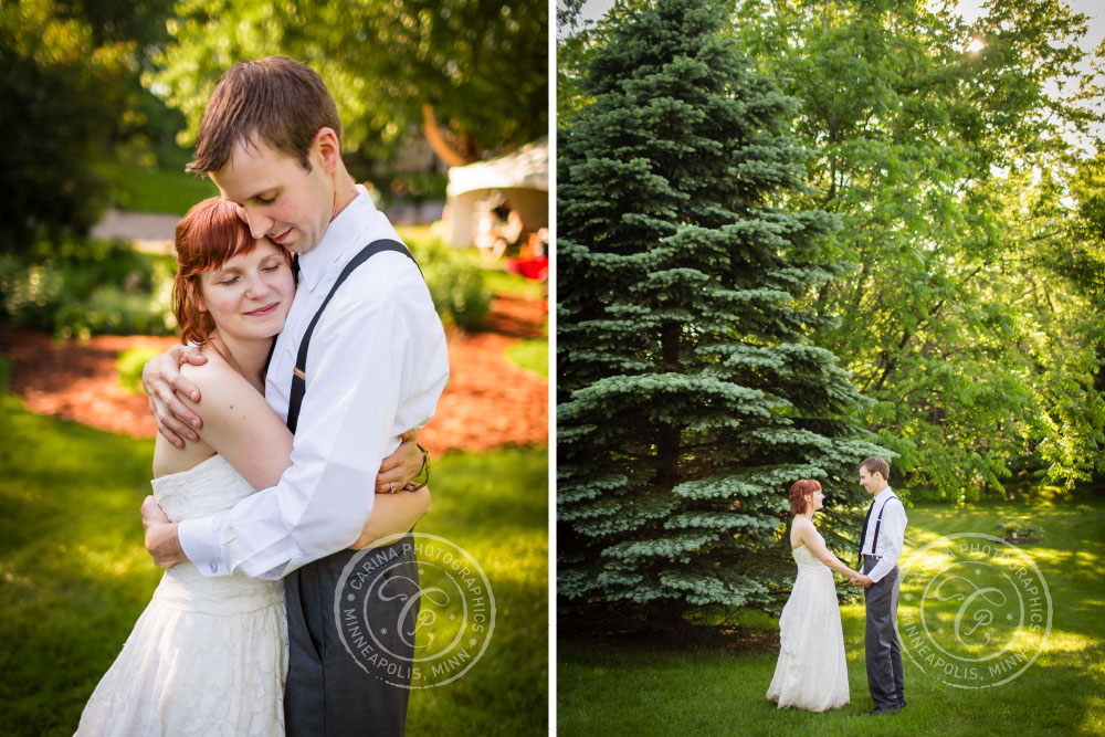 Bride Groom Hugging Hands Outdoor Tree