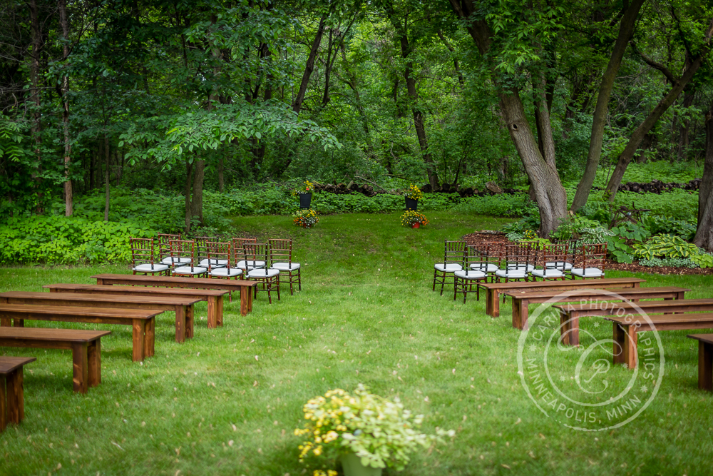 Wedding Ceremony Back Yard Benches Trees