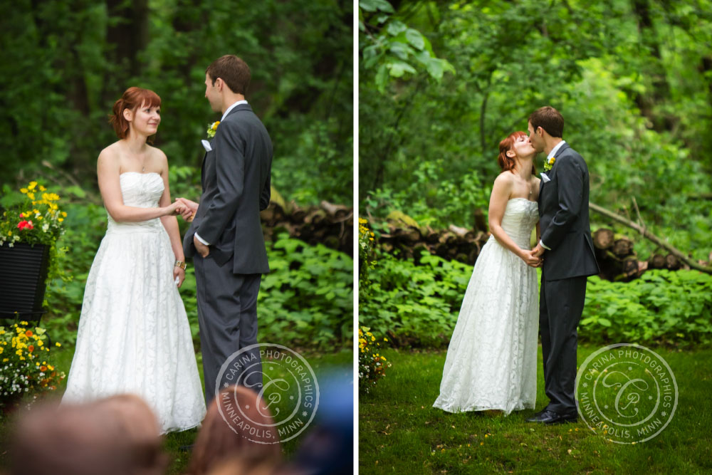 Wedding Ceremony Hands Kiss Outdoor Trees