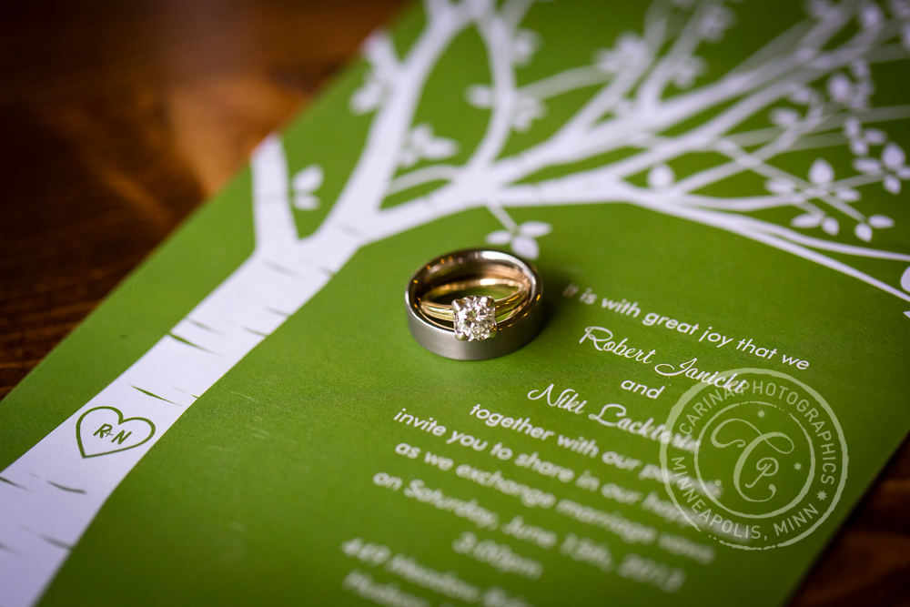 Wedding Invitation Tree Green Rings