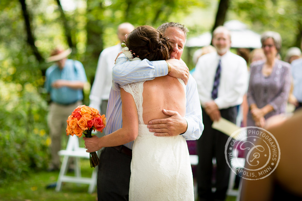 Minneapolis Outdoor Wedding Ceremony Woods Trees River Photo