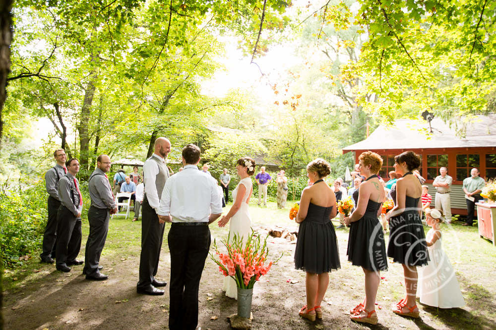 minneapolis outdoor wedding ceremony woods trees river photo 18 Barn, Farm, River + Woods Wedding Minneapolis MN | Shane + Mandy