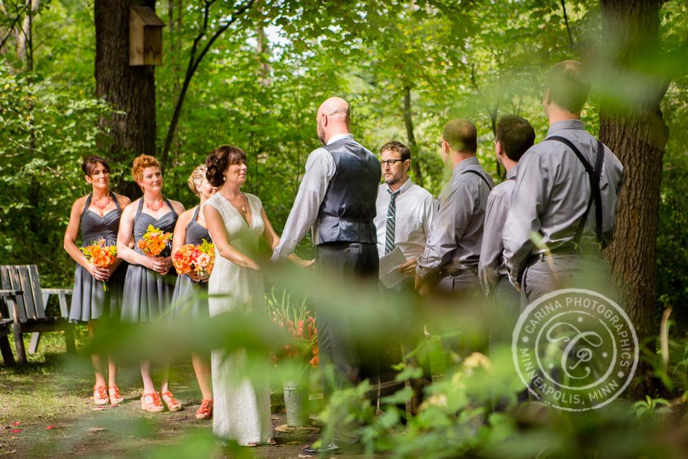 minneapolis outdoor wedding ceremony woods trees river photo 20 Barn, Farm, River + Woods Wedding Minneapolis MN | Shane + Mandy