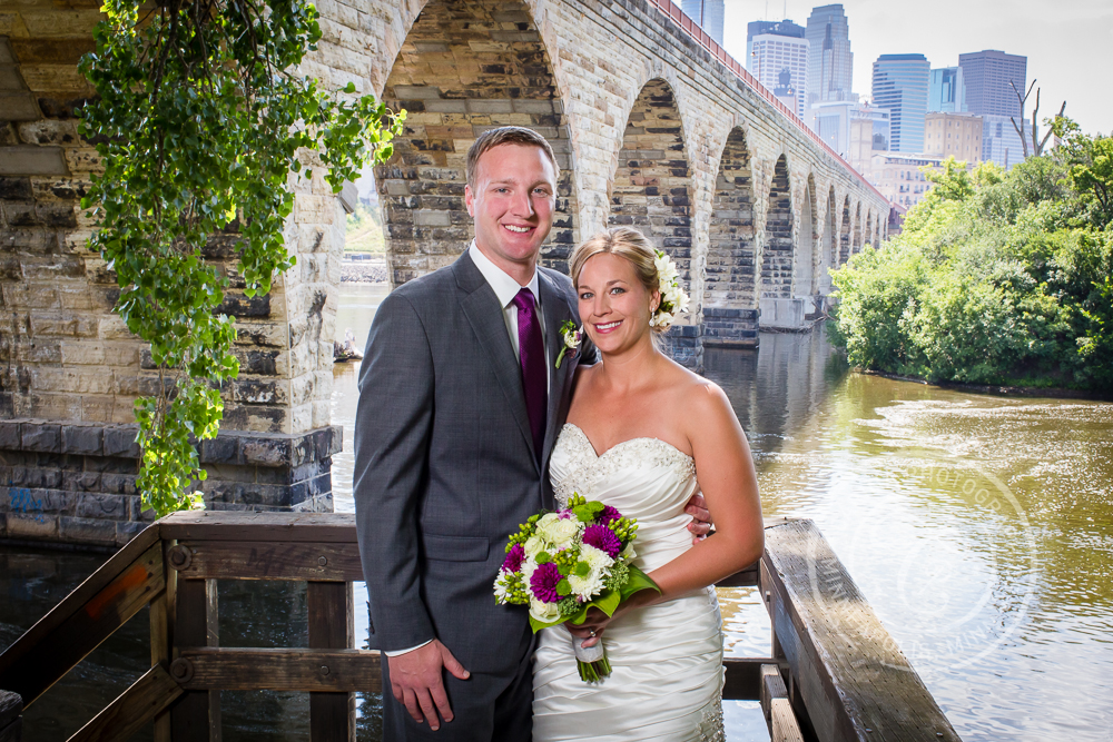Minneapolis Stone Arch Bridge Wedding Bride Groom