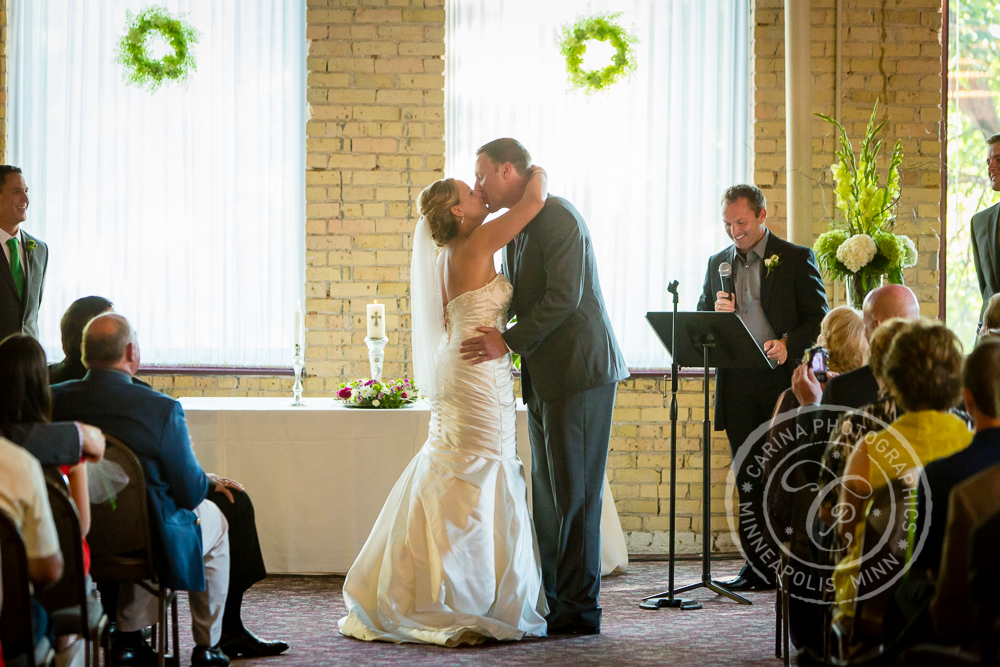 Minneapolis St Anthony Main Event Centre Wedding Ceremony Kiss