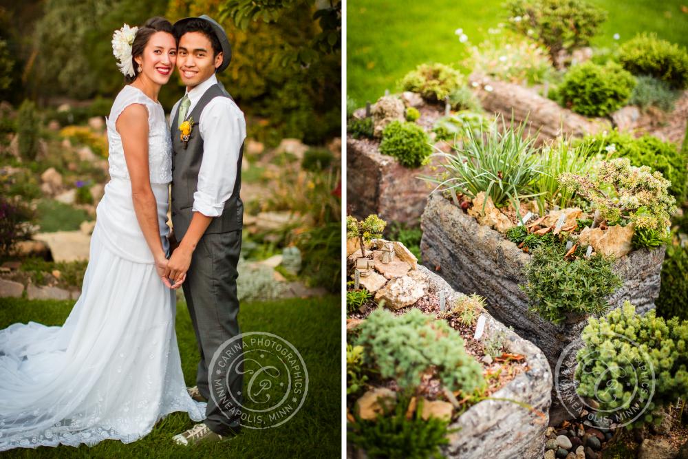 St Paul Garden Wedding Bride Groom Portrait Bonsai