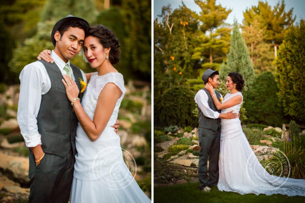 St Paul Garden Wedding Bride Groom Portrait