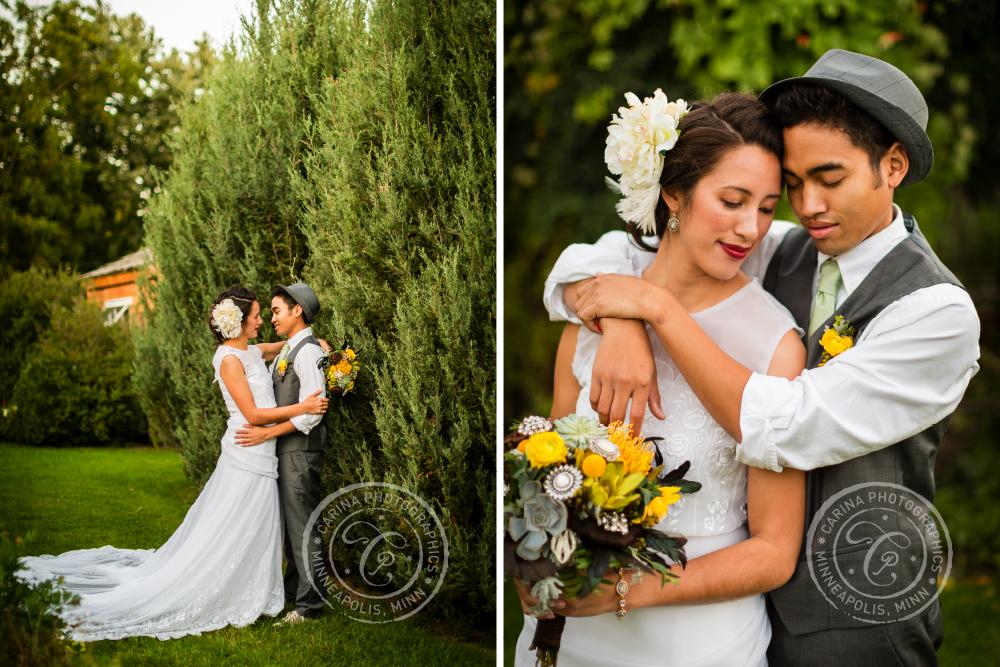 St Paul Garden Wedding Bride Groom Portrait Shrubs