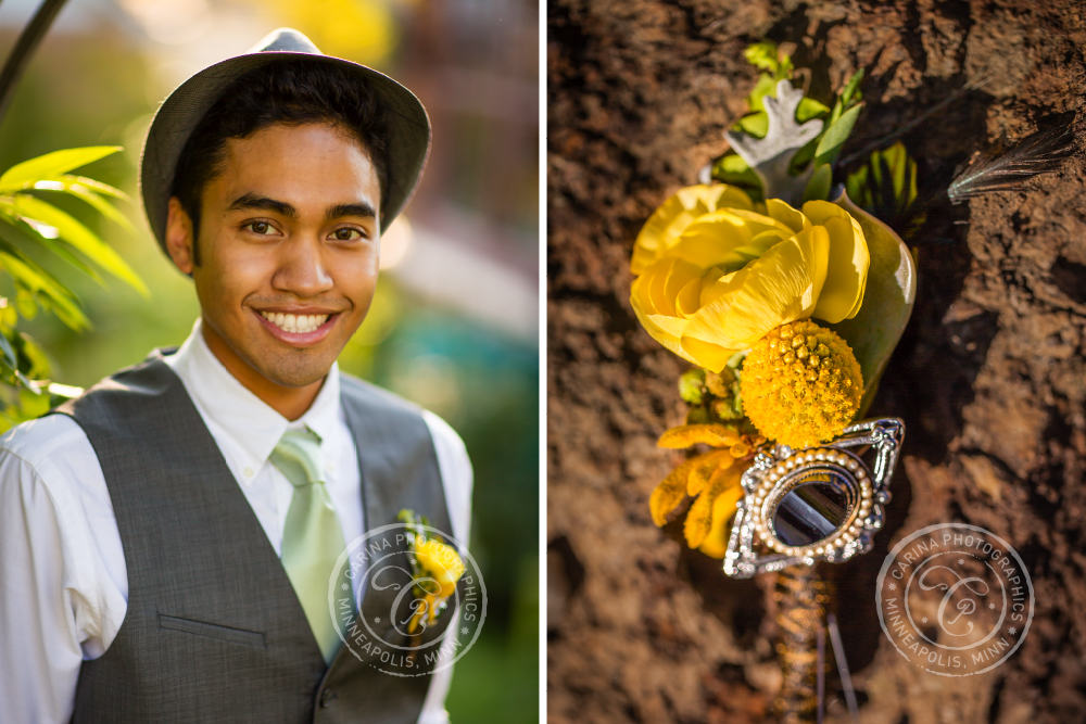St Paul Garden Wedding Groom Boutonniere