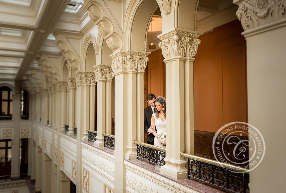 St Paul Wedding Landmark Center Bride Groom Arches