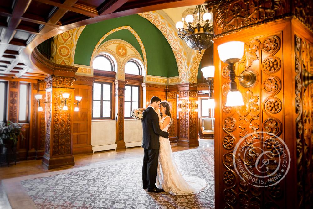 St Paul Wedding Landmark Center Bride Groom Hugging