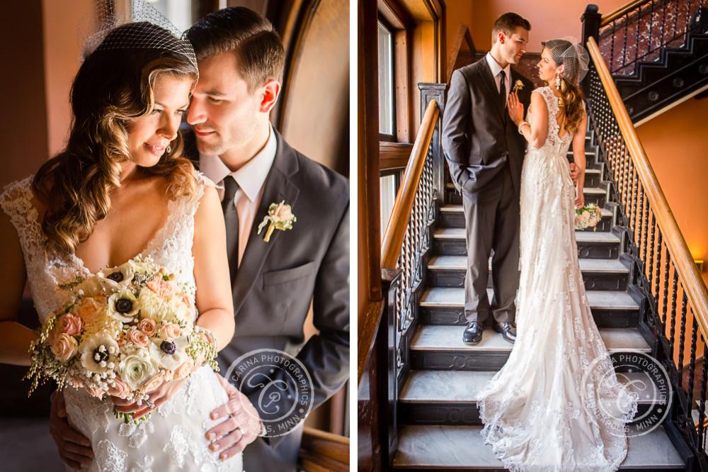St Paul Wedding Landmark Center Bride Groom Stairway