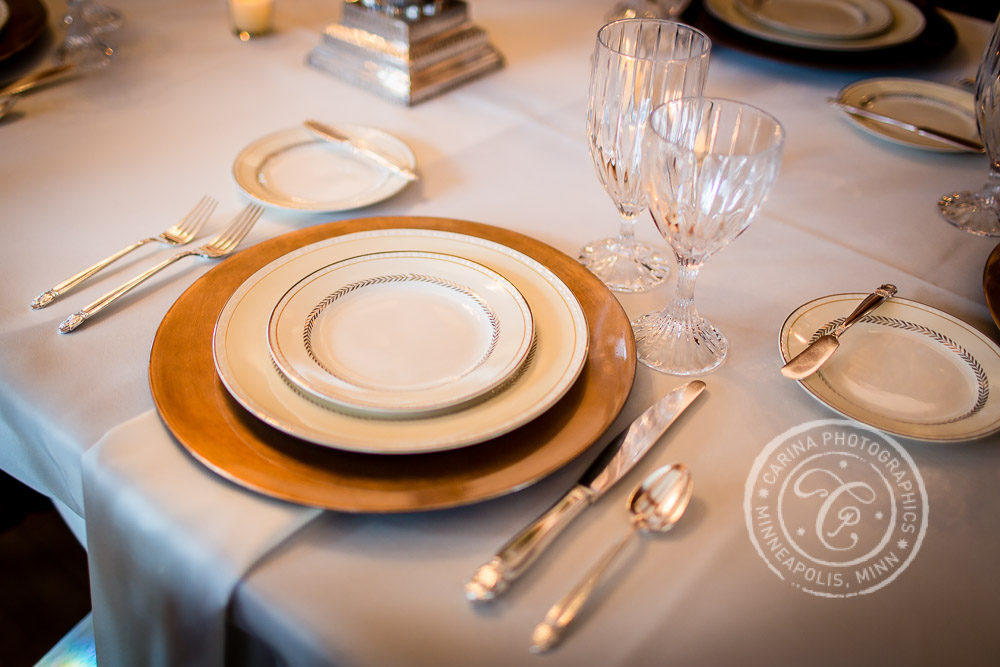 St Paul Wedding Reception Dining Table China Place Setting