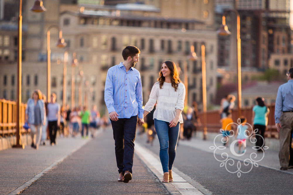 Stone Arch Bridge Engagement Photo